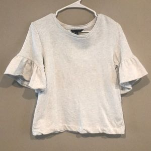 Banana Republic Ruffle Sleeve Top Cream/Light Gray